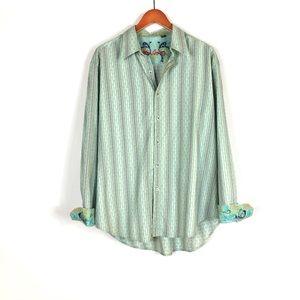 Robert Graham button shirt contrasting cuffs XL